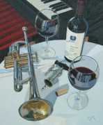 Red Wine Bottle Painting Posters - A Measure of Opus Poster by Christopher Mize