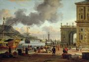 Architecture Paintings - A Mediterranean Harbour Scene   by Abraham Storck
