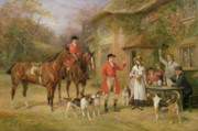 Horse Riders Prints - A Meeting at the Three Pigeons Print by Heywood Hardy