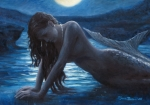 Moonlight Painting Prints - A mermaid in the moonlight - love is mystery Print by Marco Busoni