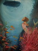 Waterscape Painting Framed Prints - A Mermaids Journey Framed Print by Amira Najah Whitfield
