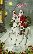 Santa Claus Paintings - A Merry Christmas card of Santa Riding a White Horse by American School