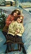 Sisters Paintings - A Merry Christmas Postcard with Sledding Girls by American School