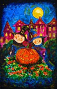 Apple Art Posters - A Merry Halloween Poster by Zaira Dzhaubaeva