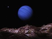 Neptune Posters - A Methane Clouded Ice Giant Over One Poster by Andrew Taylor