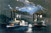 Moonlit Metal Prints - A Midnight Race on the Mississippi Metal Print by Currier and Ives