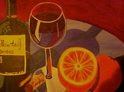 Wine-bottle Glass Art - A midnight snack by Cynthia Walker-Wiggins