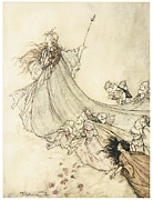 Fairies Framed Prints - A Midsummer Nights Dream Fairies Away Framed Print by Arthur Rackman