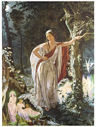 Fairies Framed Prints - A Midsummer Nights Dream Hermia and the Fairies Framed Print by John Simmons
