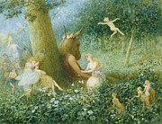 Figures Painting Prints - A Midsummer Nights Dream Print by HT Green
