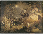 Night Forest Framed Prints - A Midsummer Nights Dream Framed Print by John Lamb Primus