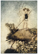 Midsummer Prints - A Midsummer Nights Dream One aloof stand sentinel Print by Arthur Rackman