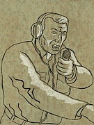 Talking Digital Art Metal Prints - A Military Man Talking On The Radio Metal Print by Aloysius PatrIsaac Montemayornio