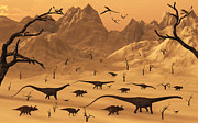 Bare Trees Prints - A Mixed Herd Of Dinosaurs  Migrate Print by Mark Stevenson
