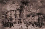 Anti-slavery Prints - A Mob Set Fire To The Pennsylvania Print by Everett