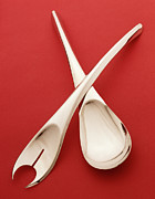 Salad Prints - A Modern Designed Silver Salad Serving Set Print by Steve Wisbauer