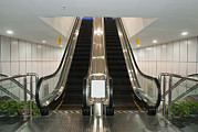 Escalator Prints - A Modern Museum Or Gallery Building Print by Guang Ho Zhu