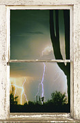 White Lightning Framed Prints - A Moment In Time Rustic Barn Picture Window View Framed Print by James Bo Insogna