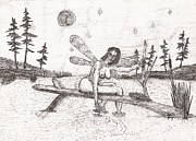 Robert Meszaros Drawings Prints - A Moment With The Moon... - Sketch Print by Robert Meszaros