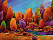 Original Fall Landscape Paintings - A Moments Embrace by Johnathan Harris