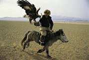 Ethnic And Tribal Peoples Posters - A Mongolian Eagle Hunter In Kazahkstan Poster by Ed George