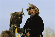 Falconry And Falconry Equipment Prints - A Mongolian Eagle Hunter In Kazakhstan Print by Ed George