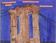 Brooklyn Bridge Painting Originals - A Monumental Bridge by Nancy Denommee