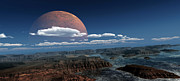 Cloudscape Digital Art - A Moon Rises Over A Young World by Frieso Hoevelkamp
