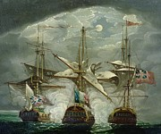 Warship Painting Posters - A Moonlit Battle Scene Poster by Robert Cleveley