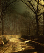 Moonlit Metal Prints - A Moonlit Lane Metal Print by John Atkinson Grimshaw