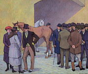 Bowler Framed Prints - A Morning at Tattersalls Framed Print by Robert Polhill Bevan