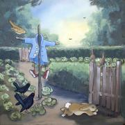 Garden Scene Paintings - A Morning Run by Terri B Webb