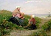 Childhood Paintings - A Mother and her Small Children by Edith Hume