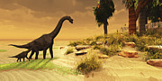 Oasis Digital Art - A Mother Brachiosaurus Dinosaur by Corey Ford