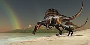 Oasis Digital Art - A Mother Spinosaurus Brings by Corey Ford