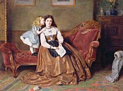 Chaise Longue Paintings - A Mothers Darling by George Goodwin Kilburne