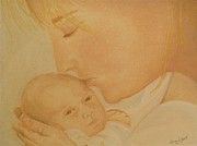 Tenderness Pastels Posters - A Mothers Kiss Poster by Elaine Read-Cole