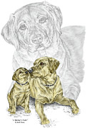 Lab Drawings Metal Prints - A Mothers Love - Labrador Dog Print color tinted Metal Print by Kelli Swan