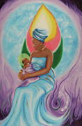 Visionary Art Paintings - A Mothers Love by Joyce Small