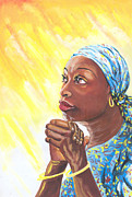 Black Woman Praying Posters - A Mothers Prayer Poster by Emmanuel Baliyanga