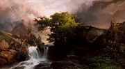 Rapids Painting Framed Prints - A Mountain Stream Framed Print by Thomas Moran