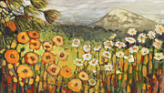 Orange Poppy Paintings - A Mountain View by Jennifer Lommers