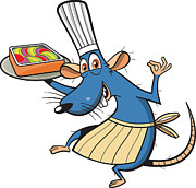 Full-length Portrait Digital Art - A Mouse With A Chefs Hat And Apron Holding A Tray Of Dessert by Paulo Buchinho