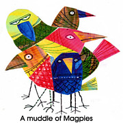 Magpies Tapestries Textiles - A Muddle Of Magpies by Steven Duquette