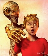Funny Mixed Media Metal Prints - A Mummies Touch Metal Print by Bob Orsillo
