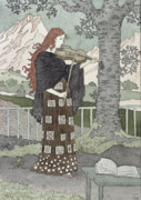 Violin Paintings - A Musician by Eugene Grasset