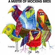 Mocking Framed Prints - A Muster Of Mocking Birds Framed Print by Steven Duquette