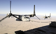 Drogue Framed Prints - A Mv-22 Osprey Refuels Midflight While Framed Print by Stocktrek Images