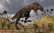 Paleozoology Art - A Nano-tyrannosaurus Takes On Adam by Mark Stevenson