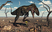 Bare Trees Metal Prints - A Nanotyrannus Crushes The Last Flower Metal Print by Mark Stevenson